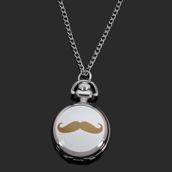 Mustache Chain Necklace Silver Ceramic Women Pocket Watch