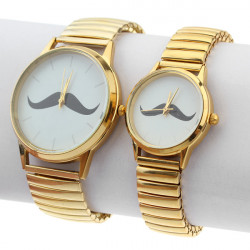 Mustache Gold Stainless Steel Elastic Couple Men Women Quartz Watch