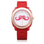 Mustache Silicone Gold Women Round Number Wrist Watch Watch