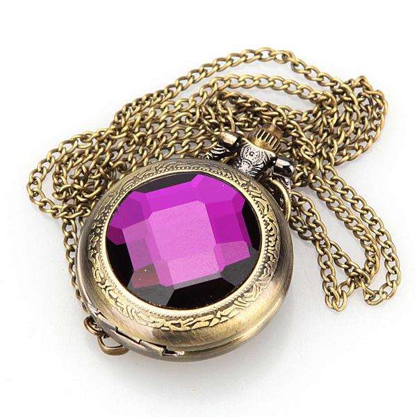 Mystery Purple Violet Crystal Pocket Watch Pendant Necklace