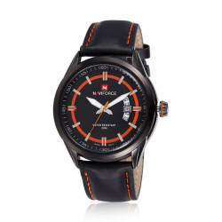 NAVIFORCE 9045 Leather Band Waterproof Quartz Watch