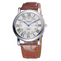 Nanci 9536A Roman Number Leather Band Quartz Watch