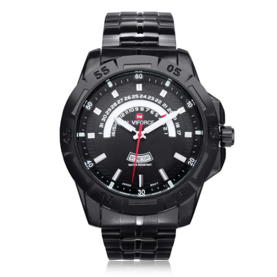 Naviforce NF9027 Military Black Date Week Stainless Steel Men Watch
