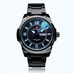 Naviforce NF9035 Black Stainless Steel Week Date Men Wrist Watch