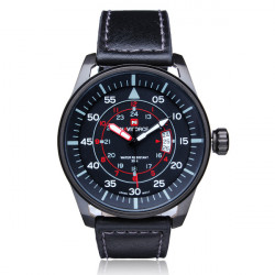 Naviforce NF9044M Military Black Date PU Leather Men Wrist Watch