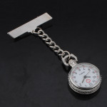 Nurse Silver White Dial Quartz Pocket Watch Clear Cover Pin