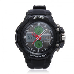 OHSEN AD 1306 Back Light Waterproof Sport Rubber Men Wrist Watch