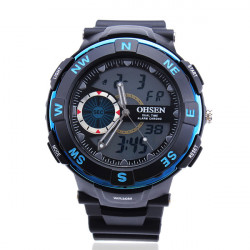 OHSEN AD 1312 Rubber Dual Time Waterproof Sport Men Wrist Watch