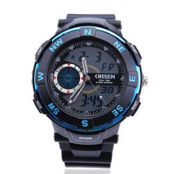 OHSEN AD 1312 Rubber Dual Time Waterproof Sport Men Wrist Watch