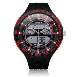OHSEN AD2803 Sport Black Mlilitary Date Week Men Wrist Quartz Watch