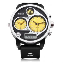 OHSEN AD2806 Sport 3 Dial Black Mlilitary Date Week Men Quartz Watch