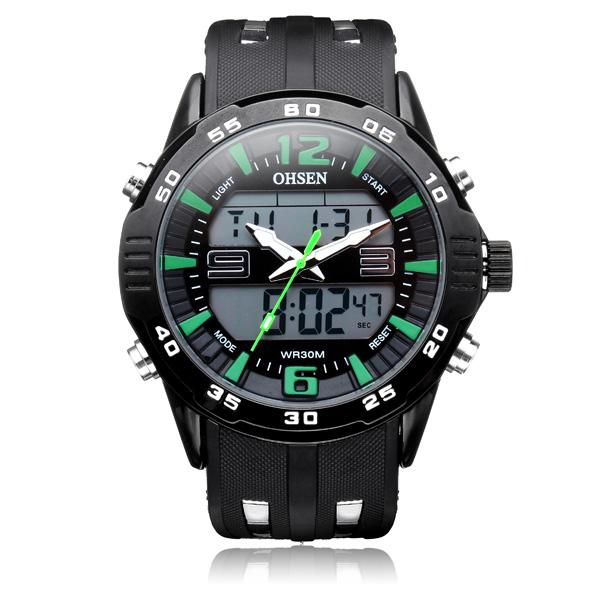 OHSEN AD2813 Sport Big Dial Back Light Date Men Quartz Wrist Watch Watch