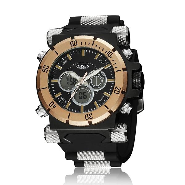 OHSEN AD2818 Sport Day Alarm Dual Display Outdoor Men Wrist Watch Watch