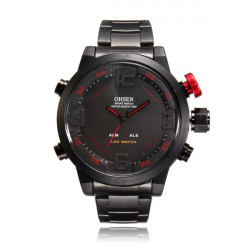 OHSEN AD2820 Stainless Steel Band Big Dial Waterproof Quartz Watch