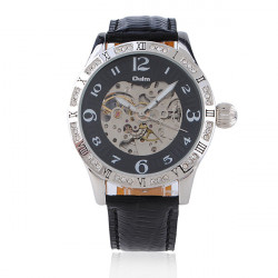 OULM Automatic Mechanical Leather Rhinestone Round Wrist Watch