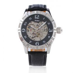 OULM Automatic Mechanical Leather Rhinestone Round Wrist Watch
