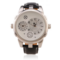 OULM Men Big Dial Round Leather Fashion Wrist Watch
