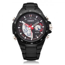 Ohsen AD2802 Plastic Black Blue Sport Round Men Quartz Wrist Watch