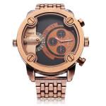 Oulm 3130 Stainless Steel Brown Black Men Quartz Wrist Watch Watch