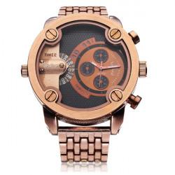 Oulm 3130 Stainless Steel Brown Black Men Quartz Wrist Watch