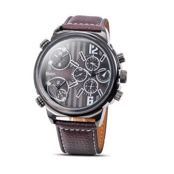 Oulm 3299 Three Time Zones PU Leather Band Sport Watch Watch