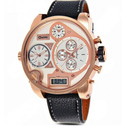 Oulm HP9316B Multi Time Zone PU Leather Band Sport Watch