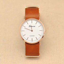 PLATINUM Thin Case PU Leather Band Quartz Watch
