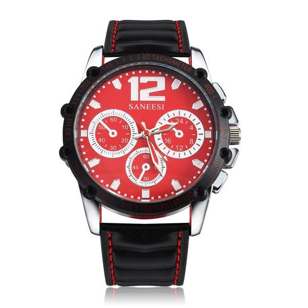 PU Black Analog Leather Stainless Steel Quartz Sport Men Wrist Watch Watch