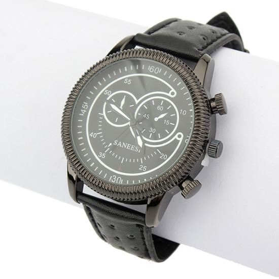PU Black Leather Analog Quartz Stainless Steel Sport Men Wrist Watch 2021