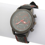 PU Black Leather Analog Quartz Stainless Steel Sport Men Wrist Watch Watch