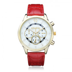 PU Leather 3 Dial Gold Crystal Round Women Quartz Wrist Watch