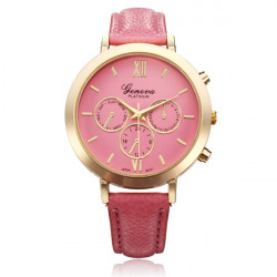 PU Leather Big Dial Roman Number Round Women Quartz Wrist Watch