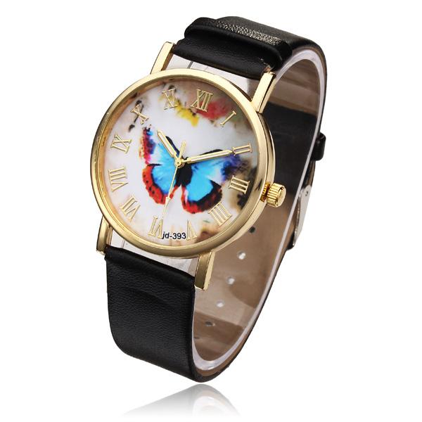 PU Leather Butterfly Gold Roman Round Women Quartz Wrist Watch Watch