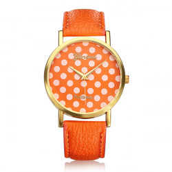 PU Leather Dots Spot Round Women Gold Wrist Watch