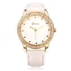 PU Leather Gold Crystal Round Women Quartz Wrist Watch