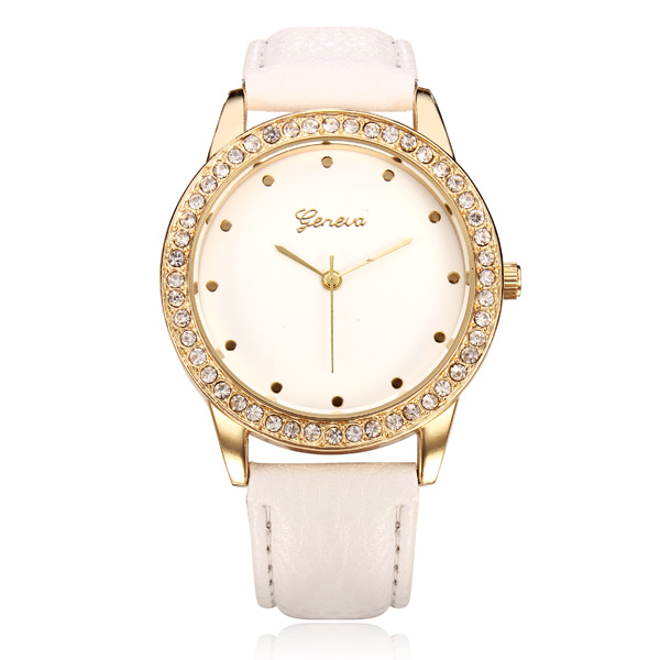 PU Leather Gold Crystal Round Women Quartz Wrist Watch Watch