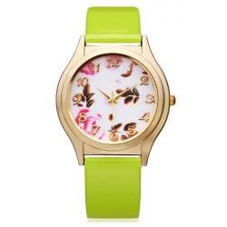 PU Leather Gold Flower Number Round Women Wrist Watch