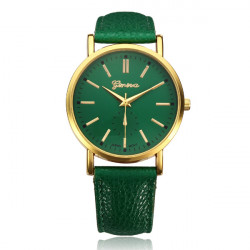 PU Leather Gold Round Women Quartz Wrist Watch
