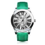 PU Leather Roman Number Silver Round Women Wrist Watch