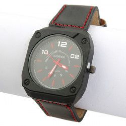PU Leather Stainless Steel Square Analog Quartz Sport Men Wrist Watch