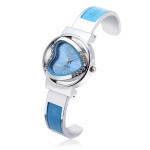 Peach Heart Rhinestone Stainless Steel Bracelet Watch Watch