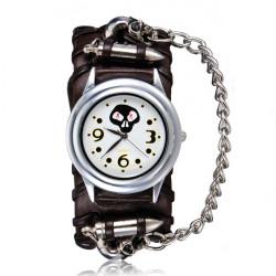 Punk Bullet Skull Chain Leather Analog Bracelet Women Watch