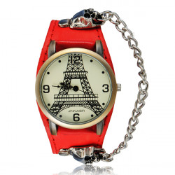 Punk Eiffel Tower Skull Chain Leather Analog Bracelet Men Women Watch