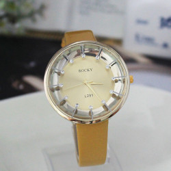 ROCKY L291 Rhinestone Leather Band Waterproof Quartz Watch