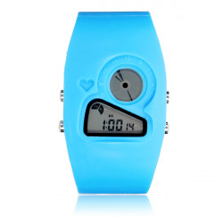 Rectangle Little Heart Alarm LED Analog Displays Waterproof Watch