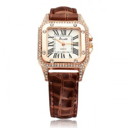 Red Leather Crystal Rectangle Roman Number Women Analog Quartz Watch