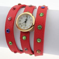 Red Leather Crystal Rhinestone Wrap Women Bracelet Quartz Watch