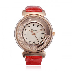 Red Leather Gold Watch