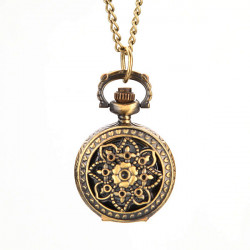 Retro Blossom Carved Pattern Necklace Pocket Watch S026