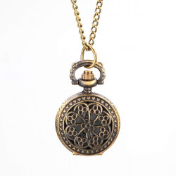 Retro Blossom Carved Pattern Necklace Pocket Watch S027